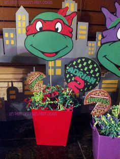Ninja Turtle Centerpiece PICKS ONLY PRINTABLE by LizsPartyDesigns
