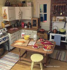 Making Rhubarb Pie in Kathleen Holmes dollhouse kitchen
