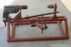 Wood Lathe – I've got an old cordless drill motor that may work for this! Wood Lathe – I've got an old cordless drill motor that may work for this! Diy Lathe, Wood Lathe, Wood Wood, Welding Projects, Wood Projects, Woodworking Jigs, Woodworking Projects, Lathe Machine, Garage Tools