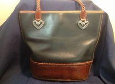 BRIGHTON Purse Handbag Tote Black Leather and Croc Lower