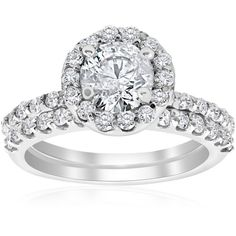Pompeii3 1 7/8ct Halo Diamond Engagment Ring Wedding Set (5,615 ILS) ❤ liked on Polyvore featuring jewelry, rings, white, diamond band wedding ring, 14 karat gold diamond ring, round cut diamond rings, diamond wedding rings and wedding band rings