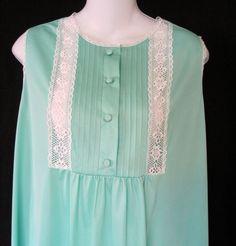 Gaymode Vintage Green Large Nightgown Long Nylon Eyelet Lace USA JC Penny NWT #Gaymode