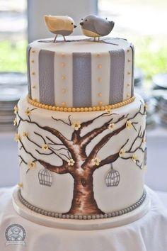 Bird Dream Day Wedding Cake