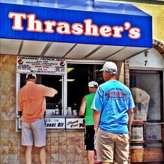 Waiting For Thrasher's Fries on the boardwalk of Ocean City, Md. The best boardwalk ever!