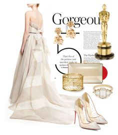 """""""white off oscar"""" by omahtawon ❤ liked on Polyvore featuring Monique Lhuillier, Christian Louboutin, Oscar de la Renta and Judith Leiber"""