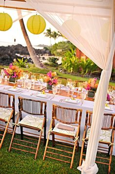 Pull Off a Hawaiian Luau Wedding Reception Anywhere — With Ease. #weddings #themes #hawaiian