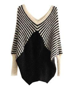 Black and White Stripes V-neckline Pullover