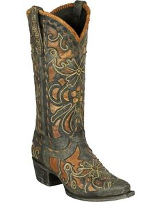 Lane Women's Robin Embroidered Waxed Black Cowgirl Boots - Snip Toe