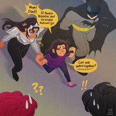Mari'r Grayson aka Nightfire brings her aunt Future Blackfire and Future Batman for a patrol.