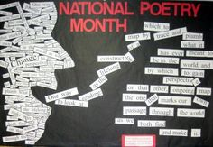 April is National Poetry Month , April is National Poetry Month! There are so many ways to celebrate. Read a poem at an open mic night or attend a poetry reading. Put a poem on the pavement: use sidewalk chalk! Put poetry in an. English Bulletin Boards, Library Bulletin Boards, April Bulletin Board Ideas, School Library Displays, Middle School Libraries, Elementary Library, Library Lessons, Library Ideas, Library Signs