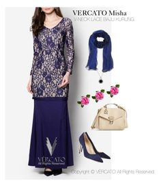 """""""VERCATO Misha Baju Kurung Moden"""" in navy blue and also available in purple. SHOP NOW: http://www.vercato.com/VERCATO-MISHA-V-NECK-LACE-BAJU-KURUNG-NAVY"""
