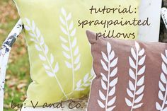 more spray painted pillows...great idea.