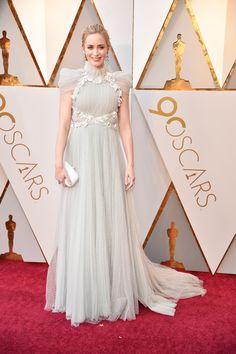 Emily Blunt in Schiaparelli Haute Couture and Chopard jewelry