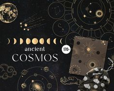Ancient Cosmos vintage astronomy gold moon phasessun   Etsy Watercolor Leaves, Watercolor Rose, Monogram Design, Constellations, Astronomy, Cosmos, Moon Phases, Zodiac Signs, Geometric Shapes