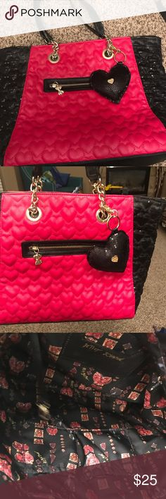 Classic pink and black Betsey Johnson handbag! Beautiful black and pink Betsey Johnson handbag with gold and sequins detailing. Handbag is in excellent condition, never used. Betsey Johnson Bags Shoulder Bags