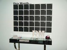 CALENDAR CHALKBOARD WALL REMOVABLE STICKER OFFICE STUDY HOME PLANNER DIARY MONTH