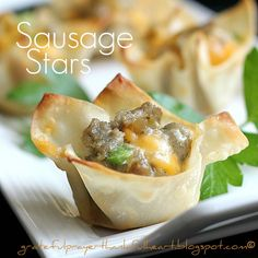 Sausage Stars - Sausage, Cheese and Hidden Valley Ranch Mix Baked in a Won Ton Wrapper
