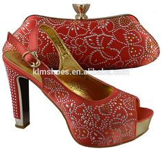 2016 Latest Fashion African Shoe And Bag Set For Party In Women Red Shoes With Matching Bags Italian High Heel 11.5 CM
