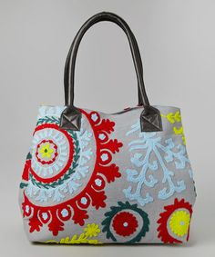 Gray & Red Embroidered Flower Tote