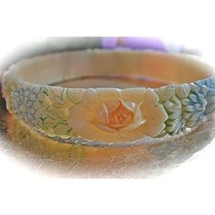 1930s Celluloid hand Painted Bangle Bracelet ($72) ❤ liked on Polyvore