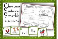 Sentence Scramble with Cut and Paste Worksheets - Christmas Theme. Includes 22 sentences to build AND has differentiated worksheets.