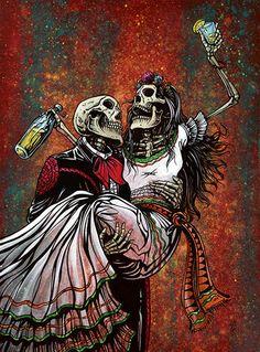 Bottoms Up by David Lozeau Mexican Skeletons Fiesta Canvas Art Print – moodswingsonthenet