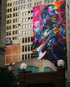 Mural de #muddywaters feito por @kobrastreetart em #Chicago no projeto #wabashartscorridor