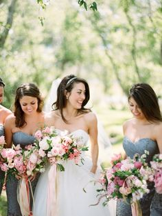 Pink and white bouquets paired with steel blue