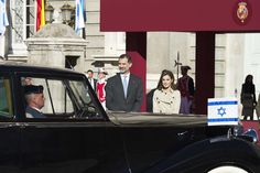 King Felipe and Queen Letizia Receive Israel President at The Royal Palace