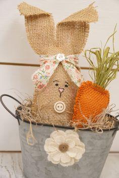 Easter Bunny Spring Tin with Burlap Flower!!! Bebe'!!! This is a Cute Spring or Easter Centerpiece!!!