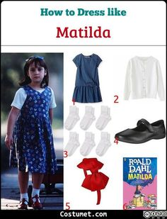Matilda costume is an adorable denim dress, a white cardigan, cuff socks, black Mary Janes, and red headband. Storybook Character Costumes, Movie Character Costumes, Character Dress Up, Book Costumes, World Book Day Costumes, Book Week Costume, Girl Costumes, 90s Costume, Family Costumes
