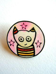 Le cat brooch Handmade cute jewelry by moonandlion on Etsy, $19.00
