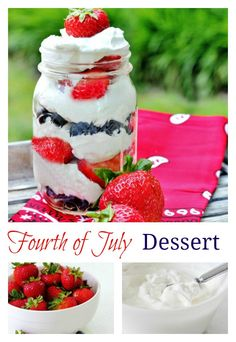 Looking for an easy Fourth of July dessert? Combine strawberries and blueberries with whipped cream in a mason jar. Perfect Fourth of July dessert. 4th Of July Desserts, Fourth Of July Food, 4th Of July Party, Easy Desserts, July 4th, Patriotic Desserts, Picnic Desserts, White Desserts, Dessert Recipes