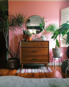 I like the pink (maybe get wallpaper?) + the rug + the style of dresser