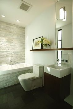 Love the stone wall and the the layout is very similar to my bathroom