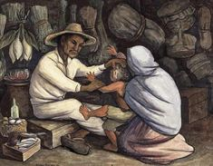 Diego Rivera - The Healer, 1943 - Head to head: Frida Kahlo and Diego Rivera exhibition – in pictures Diego Rivera Frida Kahlo, Frida And Diego, Chaim Soutine, Traditional Witchcraft, Mexico Art, Writing Art, Mexican Artists, Arte Popular, Types Of Art