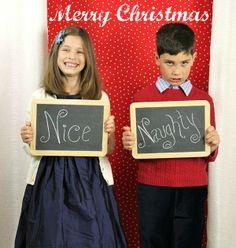 Naughty & Nice Christmas card #chalkboard