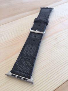 6913fb32c23 Custom Damier Louis Vuitton LV Monogram Apple iWatch Strap 38mm 42mm  Graphite  LouisVuitton Apple Watch