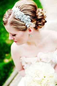 2014 Wedding Hairstyles With Tiara, Double Rhinestone Rose Headband www.loveitsomuch.com