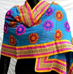 Stunning  blue georgette dupatta/stole is embroidered with wool using traditional phulkari embroidery - See more at: http://giftpiper.com/Handmade-Blue-Georgette-Phulkari-Dupatta-Stole-id-241763.html#sthash.3W3okVTD.dpuf