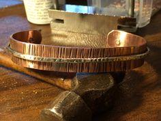 Hammered Antique Copper and Sterling Golf Cuff ~ Copper Bracelet