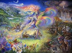 "No More by Josephine Wall  ""Progress"" - Man's word to excuse the disgraceful abuse of our precious world.   ""Gaia"" has watched from afar, hoping that the trustees of this world would come to their senses, and finally unable to bear the destruction any more, the ""Earth Goddess"" returns to force back the advancing darkness. Some animals flee in terror whilst others shelter beneath her life giving mantel. The battle to restore beauty is joined."