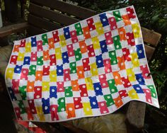 Primary bricks baby quilt. $65.00, via Etsy.