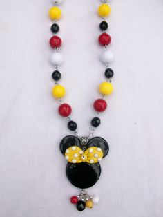 minnie mouse beaded necklace by crystalnruby on Etsy, $14.99