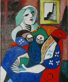 Reproduction Pablo Picasso Woman with a book  oil on canvas 40x50, 2013