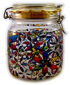 Designer Hand Painted Multi Flowers midi storage jar by HandPaintedJar on Etsy Jar Storage, Mason Jars, Hand Painted, Etsy Shop, Unique Jewelry, Handmade Gifts, Flowers, Vintage, Design