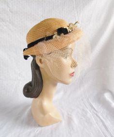 093ae469ef5 40 s 50 s Vintage Straw Hat with Flowers and by MyVintageHatShop