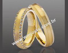 Alianca de casamento  Aliança de noivado e casamento  Aliança em ouro amarelo 18k 750  http://www.wmjoias.com.br/
