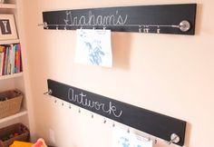 4 Ft Chalkboard Children's Artwork Display Board with Stainless Steel Clips