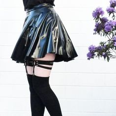 PVC Skater Skirt PVC Skater Skirt Cover the basics. When picking out pieces, make sure you have solid pieces that… Black Pleated Skirt Outfit, Pleated Mini Skirt, Skirt Outfits, Dress Skirt, Mini Skirts, Cute Outfits, Holographic Dress, Pvc Skirt, Black Milk Clothing